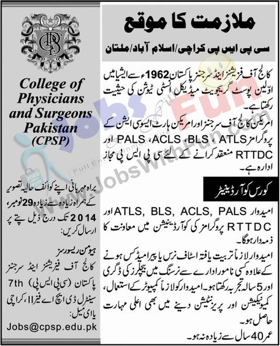 Career Opportunities In College Of Physicians And Surgeons