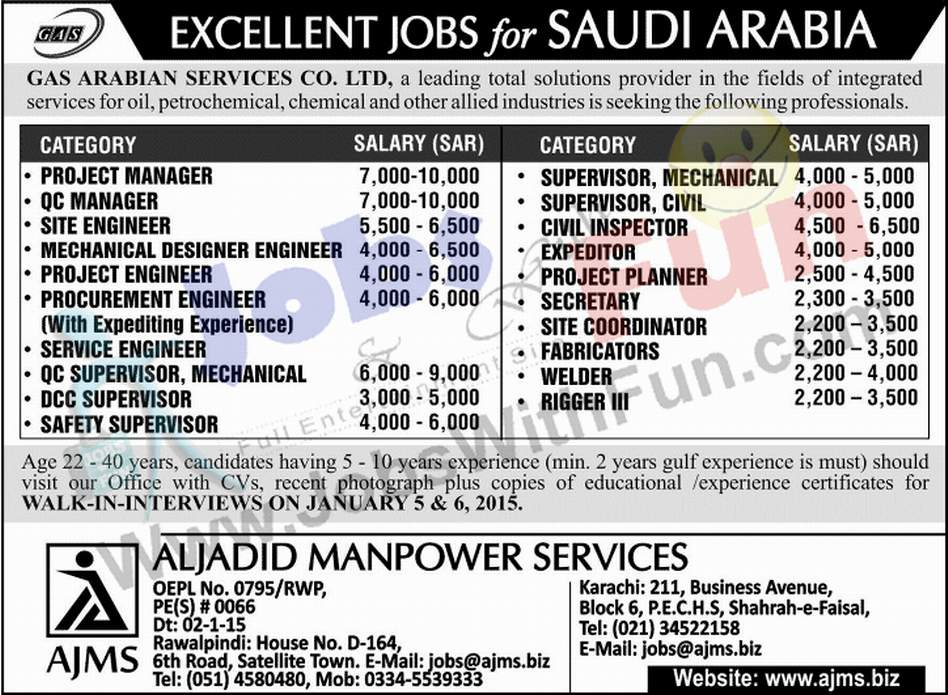 Excellent Jobs In Gas Arabian Services Co Limited Saudi Arabia