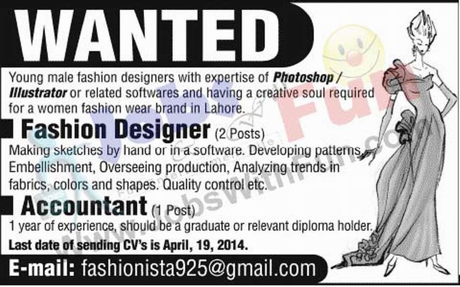 Fashion Designer And Accountant Jobs In Pakistan Jobs Jobswithfun Com