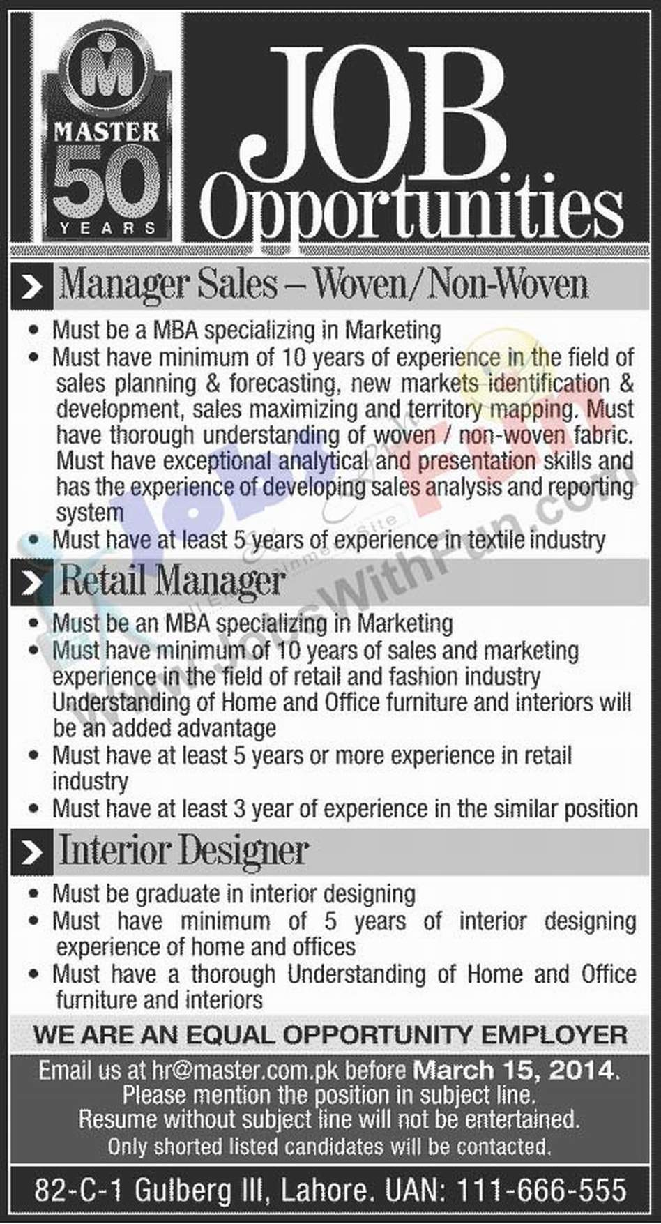 job opportunities in master molty foam lahore jobs jobs fun com