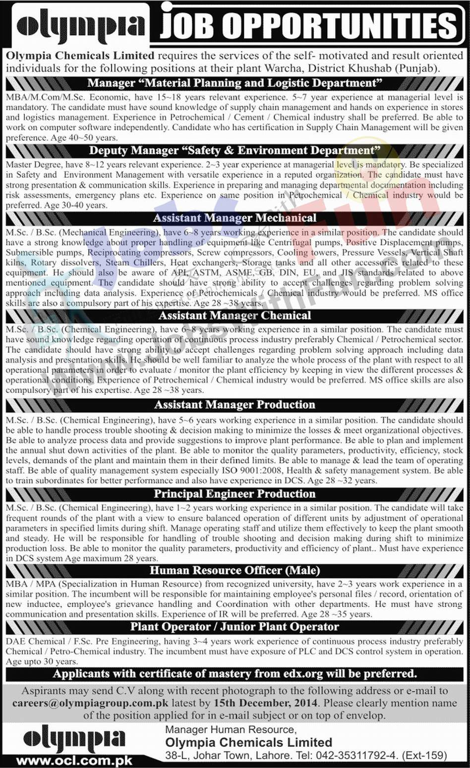 Job Opportunities In Olympia Chemicals Limited District