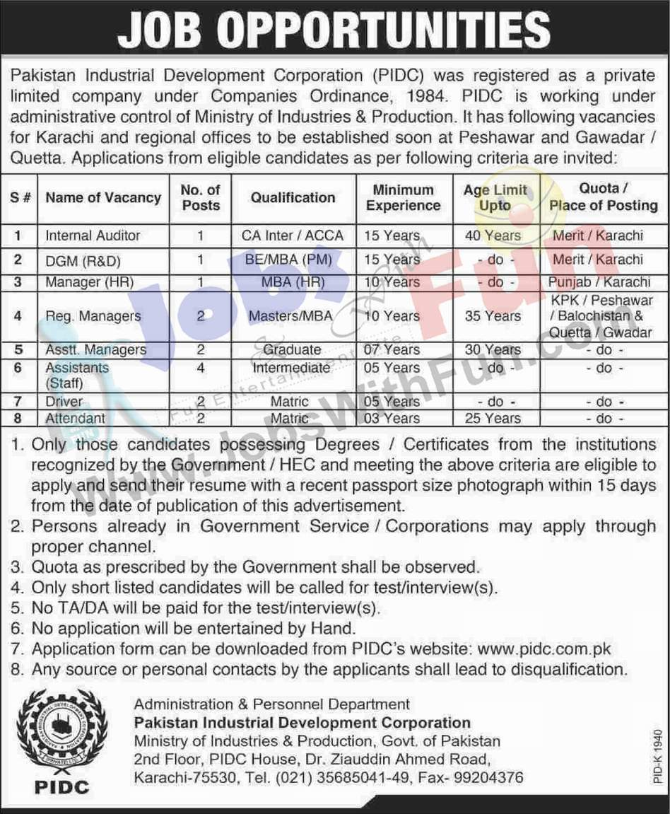job opportunities in pidc industrial development job opportunities in pidc industrial development corporation karachi jobs jobs fun com