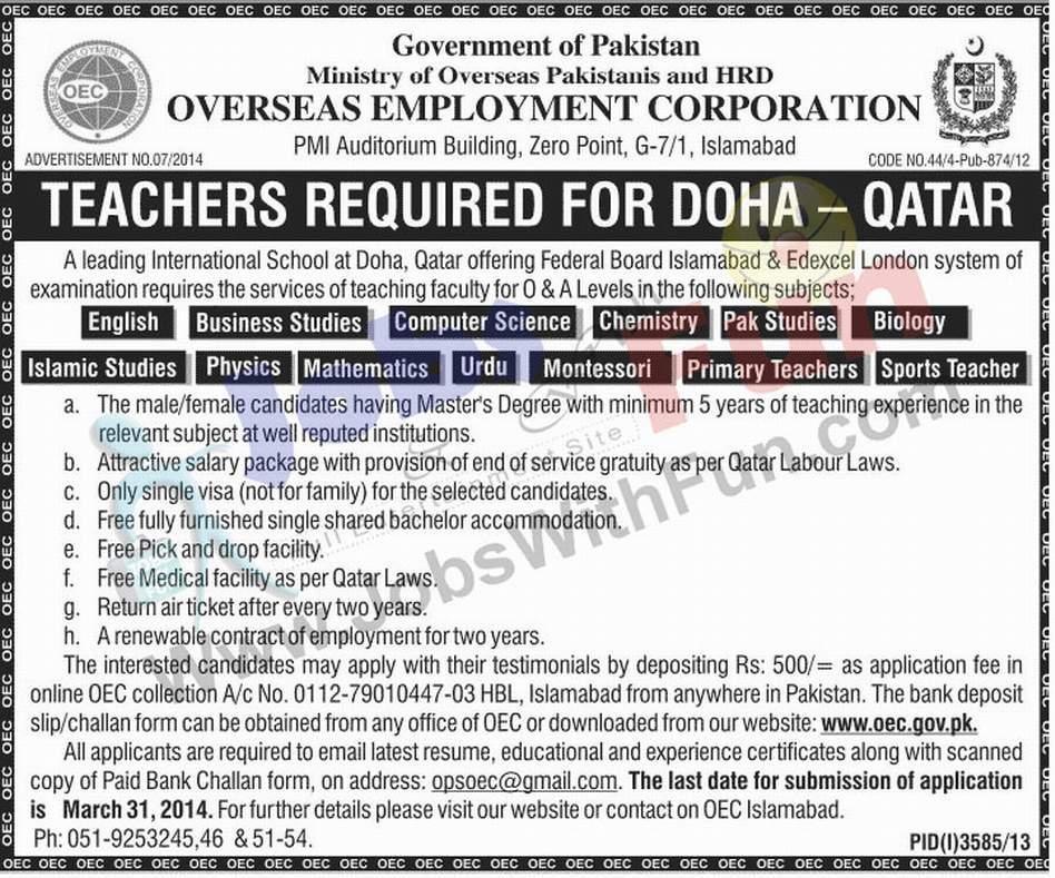 Teachers Required For Doha Qatar | Jobs | JobsWithFun com